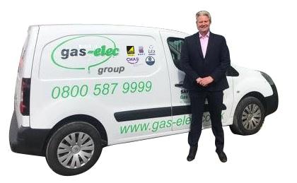 nick next to gas elec van